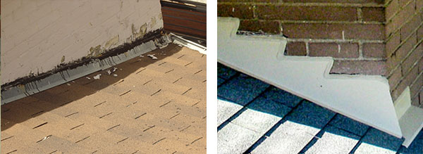 Examples of bad and good flashing, straight and shark tooth, not replaced and replaced.
